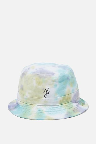 Bucket Hat, AQUA/GREEN/TIE DYE/NYC LINK