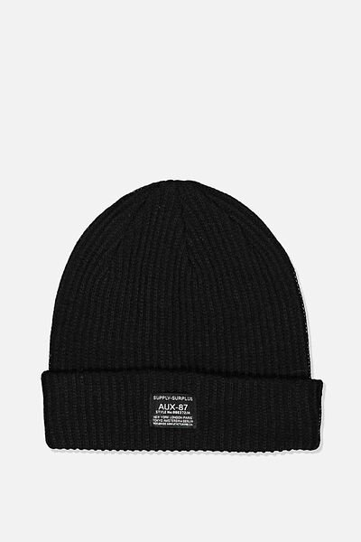 Basic Ribbed Beanie, BLACK/SUPPLY SURPLUS