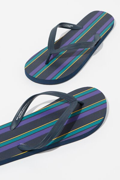 Bondi Flip Flop, PURPLE/TEAL/ORANGE VERTICAL STRIPE