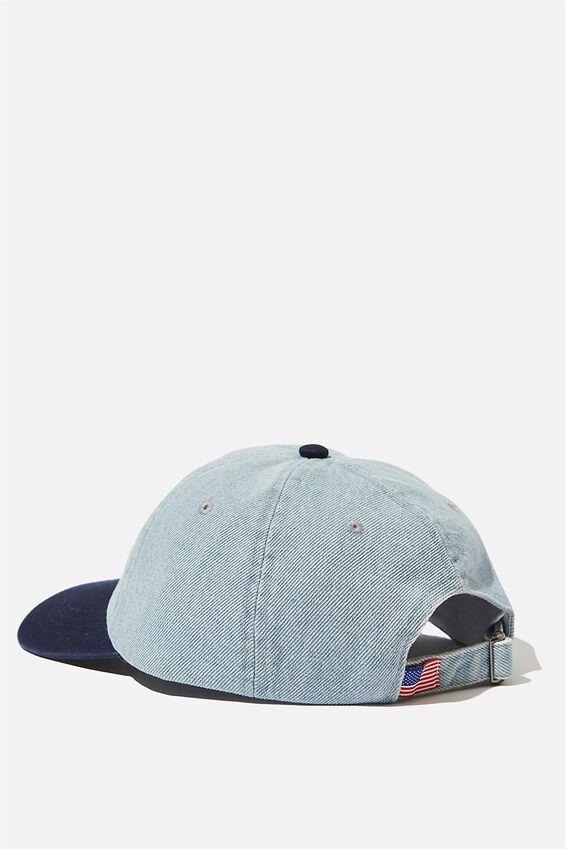 Strap Back Dad Hat, WASHED BLUE DENIM/NAVY/USA SCRIPT
