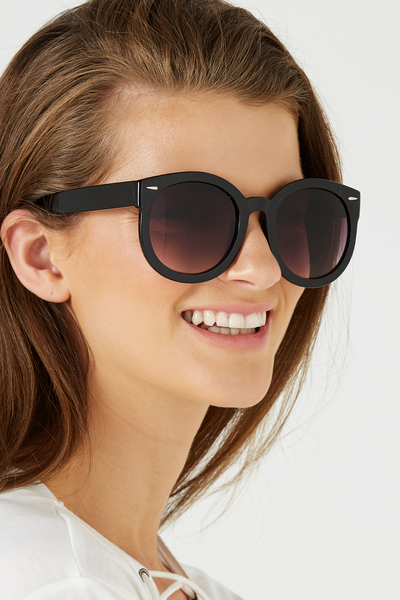 Farrah Round Sunglasses, BLACK/GREY GRAD