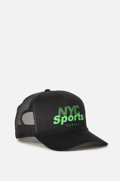 Wicked Print Trucker, BLACK/NYC SPORTS