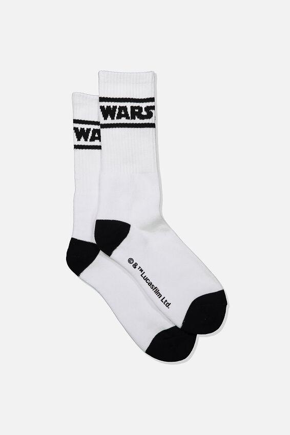 Single Pack Active Socks, LCN LUC WHITE/BLACK STAR WARS