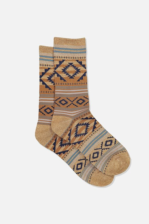 Single Pack Active Socks, COFFEE MARLE/NAVY AZTEC STRIPE