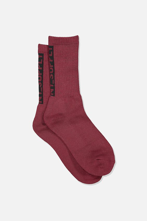 Single Pack Active Socks, RED WINE/BLACK/NY SUPPLY