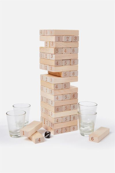 Stack It Drinking Game, BLACK/NATURAL