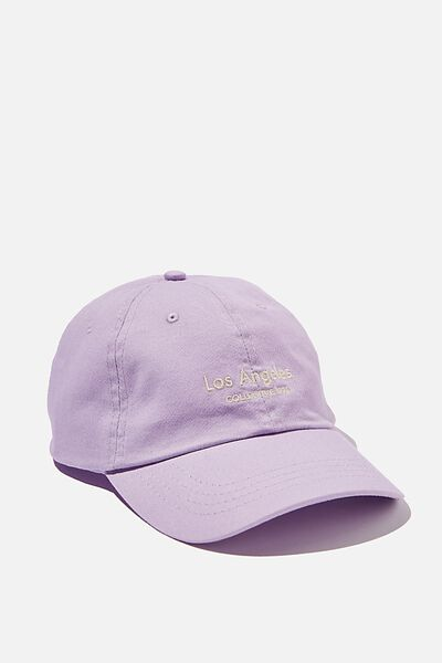 Strap Back Dad Hat, DUSTY LAVENDER/SAND/LOS ANGELES