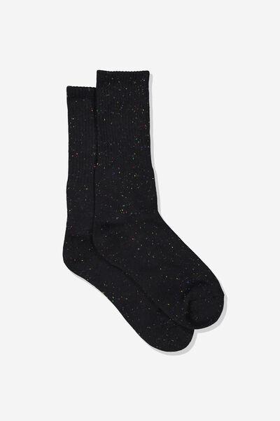 Single Pack Active Socks, BLACK/RAINBOW FLECK