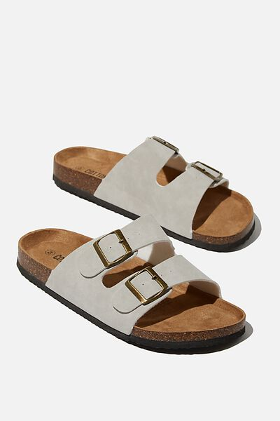 Double Buckle Sandal, GREY