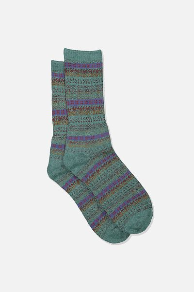 Single Pack Active Socks, TEAL/CAMEL/FAIRISLE