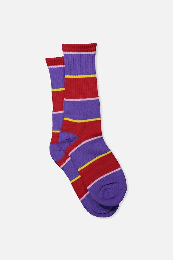 Single Pack Active Socks, RED/VIOLET/YELLOW/PURPLE BLOCK STRIPE