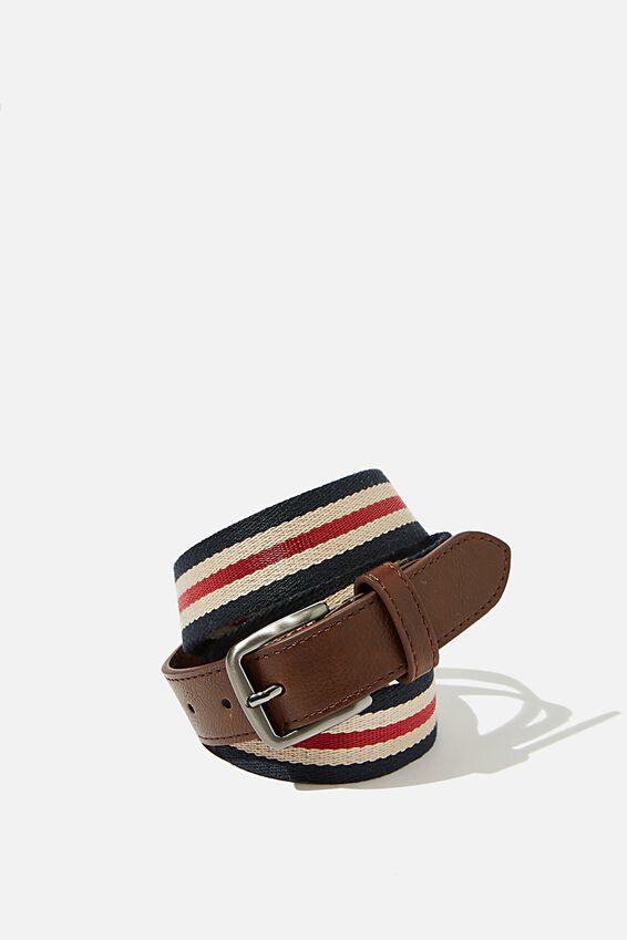 Mills Canvas Belt, DEEP BROWN/NAVY/SAND/RED STRIPE/BRUSHED GUNMETAL