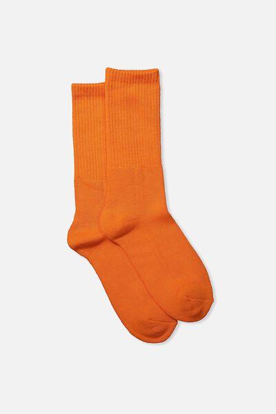 Single Pack Active Socks, VIBRANT ORANGE SOLID