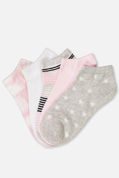 5Pk Ankle Sock, PINK TIE DYE