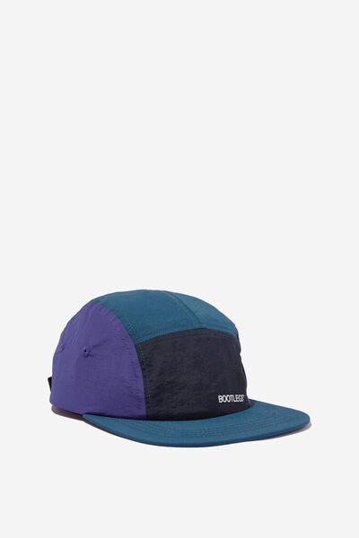 5 Panel Cap, DEEP TEAL/LAVENDER/INK NAVY/BOOTLEGS