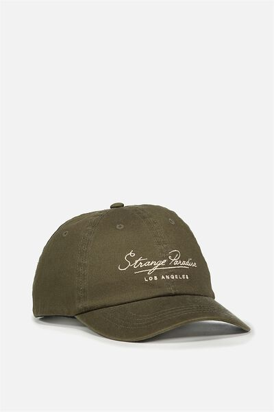 Strap Back Dad Hat, DUFFLE GREEN/PARADISE