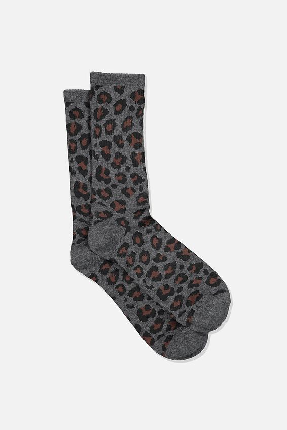 Single Pack Active Socks, CHARCOAL MARLE/LEOPARD