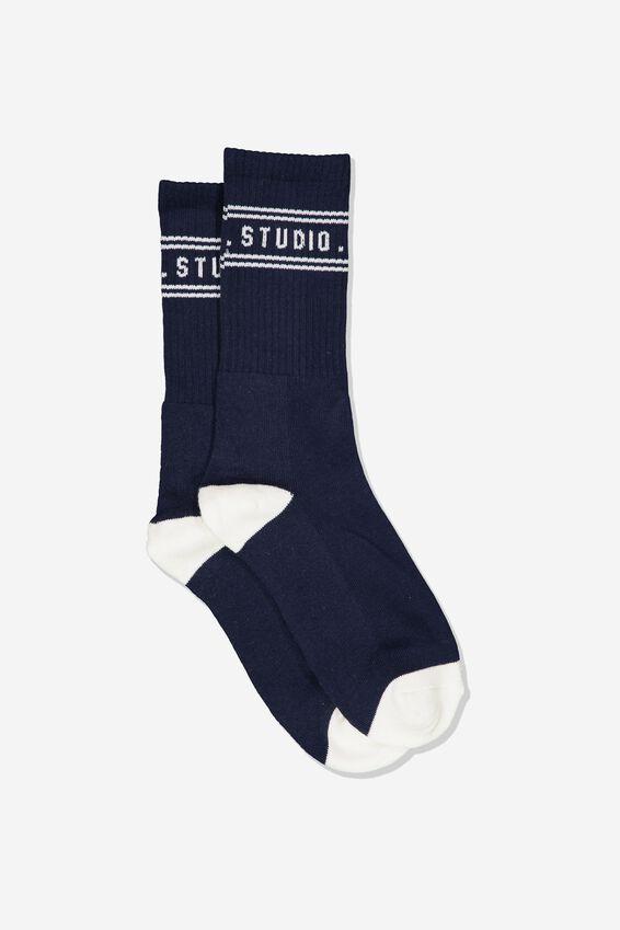 Single Pack Active Socks, NAVY/OFF WHITE WEEKEND STUDIO