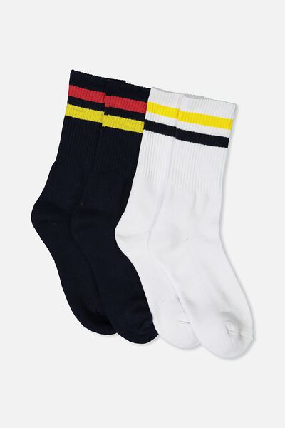 2 Pack Crew Socks, NAVY SPORT STRIPE