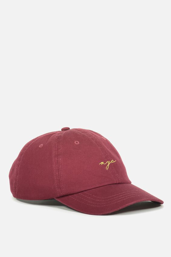 Strap Back Dad Hat, RED WINE/GOLD NYC
