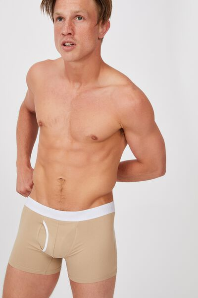 Mens Organic Cotton Trunks, STONE/WHITE