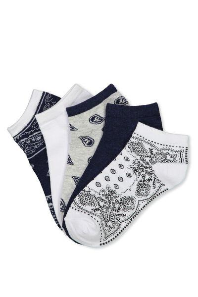5Pk Ankle Sock, BANDANA TRIO