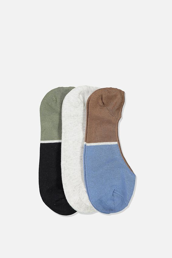 Invisible Socks 3 Pack, COLOUR SPLICED/KHAKI/GREY MARLE/STEEL BLUE
