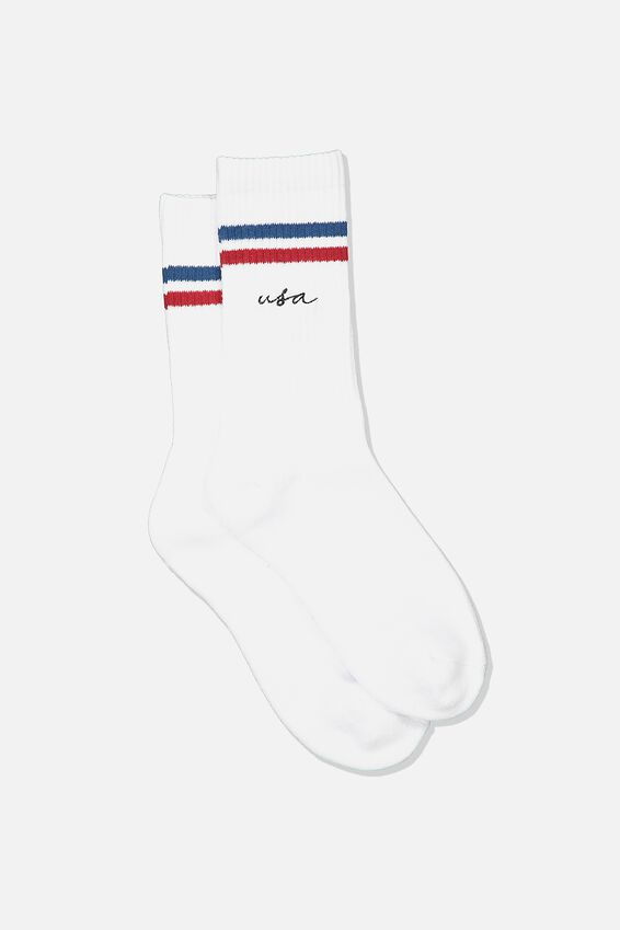 Single Pack Active Socks, WHITE 4TH JULY