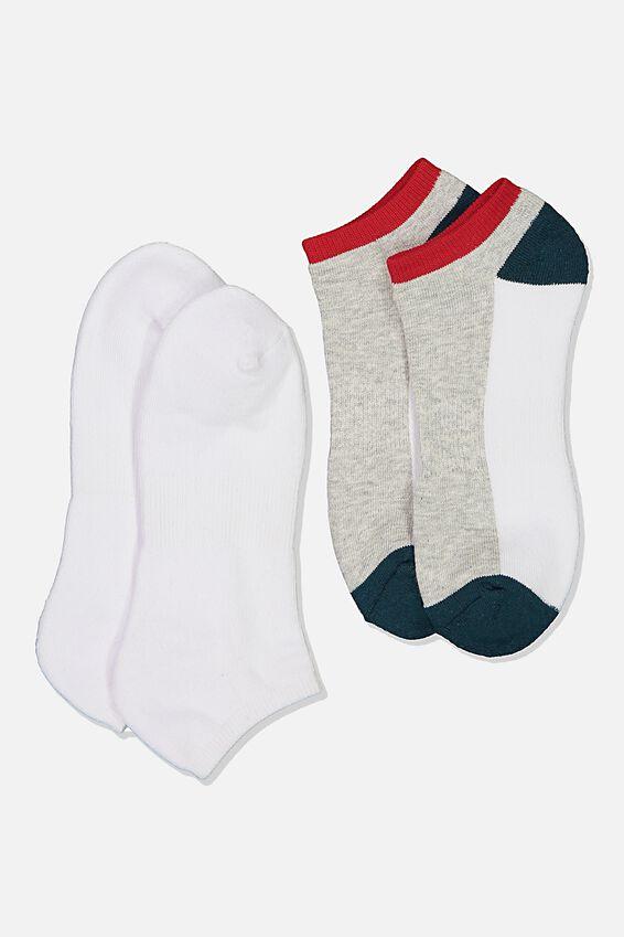 Ankle Socks 2 Pack, COLOUR BLOCK/TEAL/WHITE