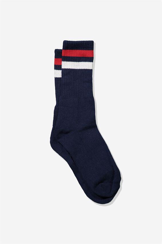 Single Pack Active Socks, NAVY RED WHITE SPORT STRIPE
