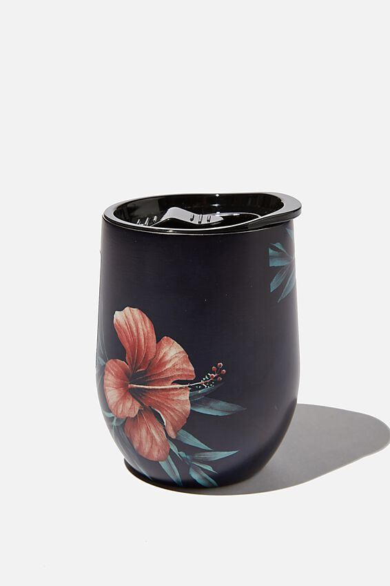 Medium Metal Tumbler, HIBISCUS FLORAL