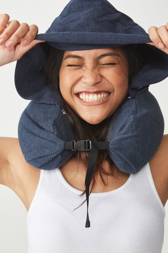 Neck Pillow With Hood, TRUE NAVY WAFFLE
