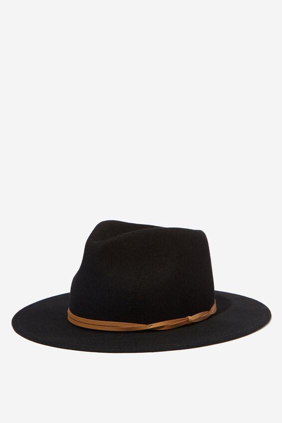 Wide Brim Felt Hat, BLACK