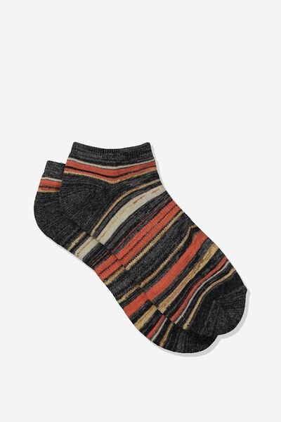 Mens Ankle Sock, BROWN MELANGE/MULTI STRIPE