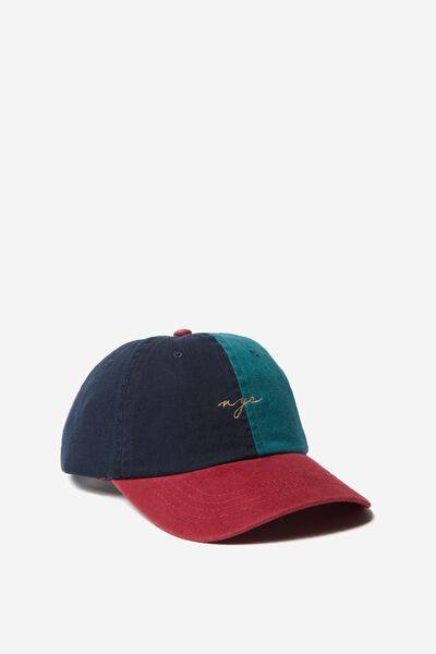 Strap Back Dad Hat, NAVY/FERN GREEN/RED/NYC SCRIPT