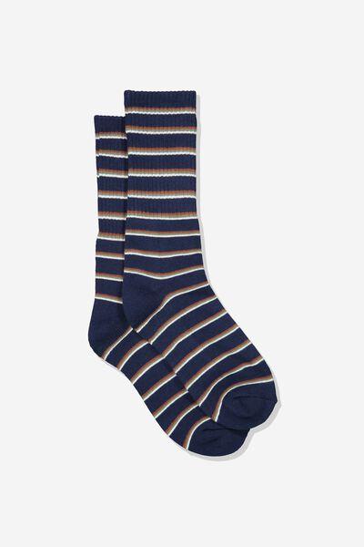 Single Pack Active Socks, NAVY/MULTI STRIPE