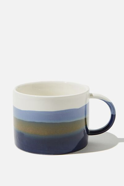 Ceramic Large Mug, NAVY/WHITE REACTIVE