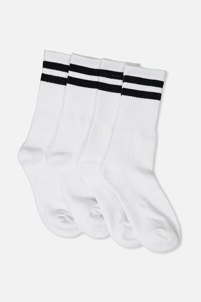 2 Pack Crew Socks, WHITE SPORT STRIPE