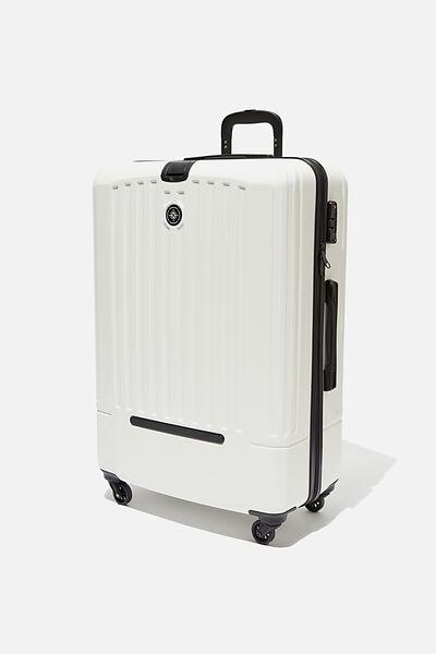 Lrg 28Inch Hard Suitcase, WHITE/BLACK