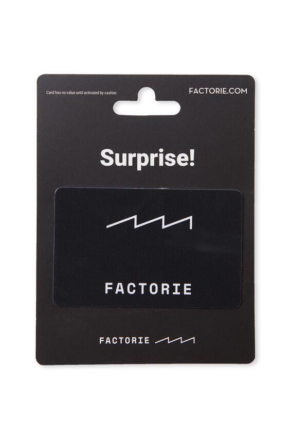 Factorie $20 Gift Card, WHITE/BLACK