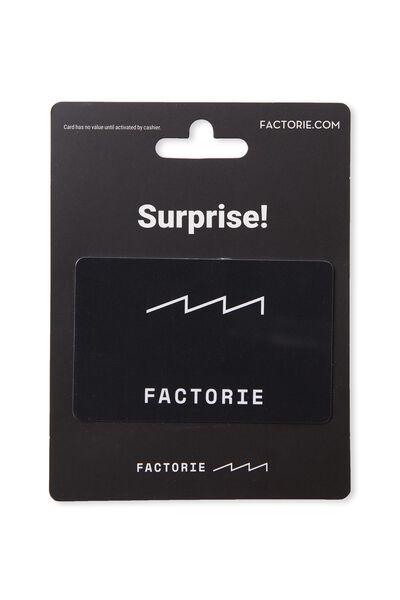 Factorie $100 Gift Card, WHITE/BLACK