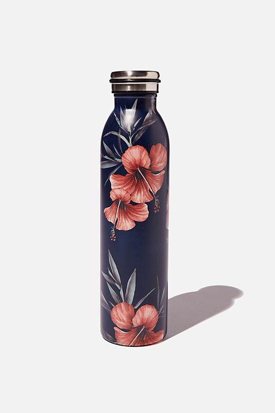 Transit Metal Drink Bottle, HIBISCUS FLORAL