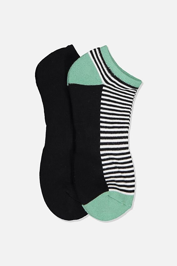 Ankle Socks 2 Pack, MICRO STRIPE BLOCK/JADE GREEN/BLACK