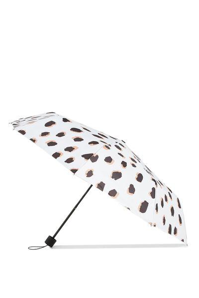 Splish Splash Medium Umbrella, LEOPARD/BLACK