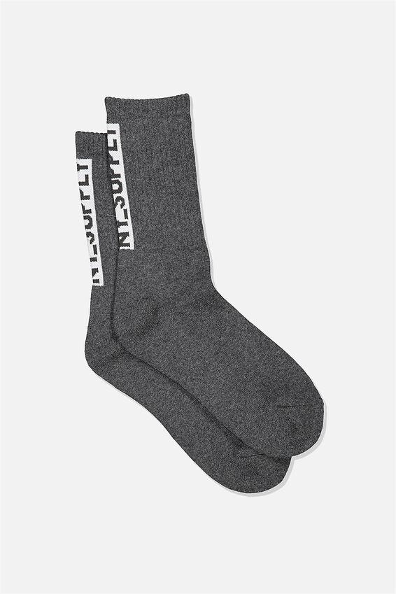 Single Pack Active Socks, CHARCOAL WHITE NY SUPPLY