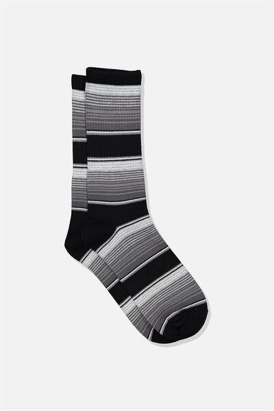 Single Pack Active Socks, BLACK GREY MULTI STRIPE