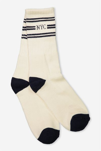 Single Pack Active Socks, NYC TRIPLE/OFF WHITE