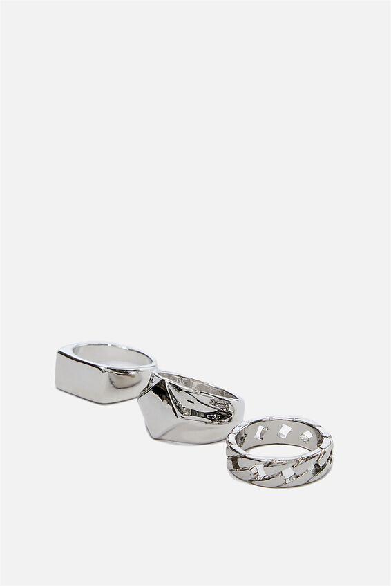 Rings 3 Pack, SILVER 5