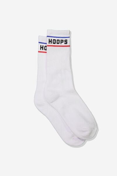 Single Pack Active Socks, WHITE/HOOPS
