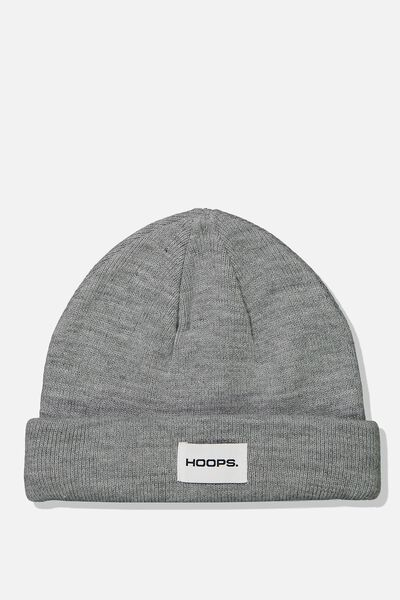 Wharfie Beanie, GREY MARLE/HOOPS PATCH